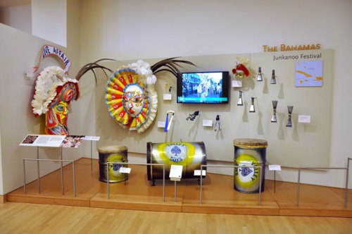 MIM exhibit featuring The Bahamas' Junkanoo Festival. Photo courtesy of the Musical Instrument Museum.