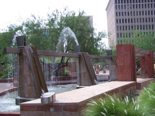 Look for this fountain, which makes a nifty landmark for Phoenix City Hall (Photo: Lynn Trimble)