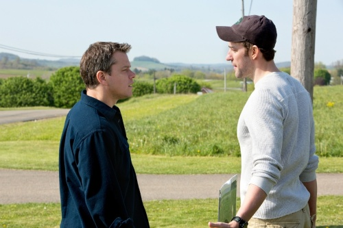 "From left: Matt Damon (Steve Butler) and John Krasinski (Dustin Noble) in ""Promised Land."" Photo: Focus Features."